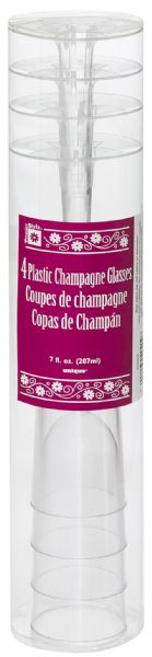 Clear Plastic Champagne Flutes (4)